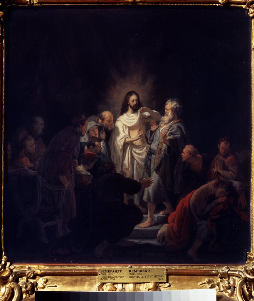 Stock Photo: 4266-14898 Apostles of Jesus Christ by Rembrandt van Rhijn, Oil on wood, 1634, 1606-1669, Russia, Moscow, State A. Pushkin Museum of Fine Arts, 53x50, 5