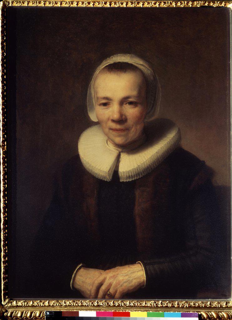 Portrait of Baartje Martens-Doomer by Rembrandt van Rhijn, Oil on wood, circa 1640, 1606-1669, Russia, St. Petersburg, State Hermitage, 76x56 : Stock Photo