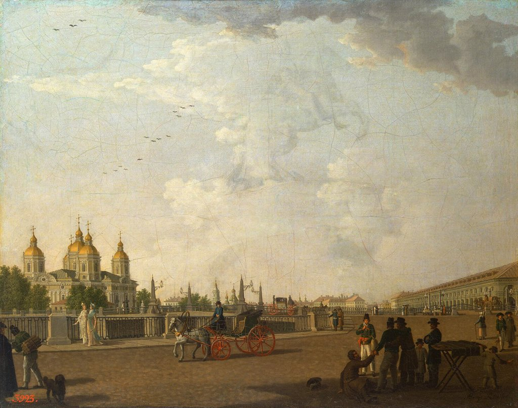 Stock Photo: 4266-14905 Saint Nicholas Cathedral by Benjamin Paterssen, Oil on canvas, 1800, 1748-1815, Russia, St. Petersburg, State Hermitage, 68x66