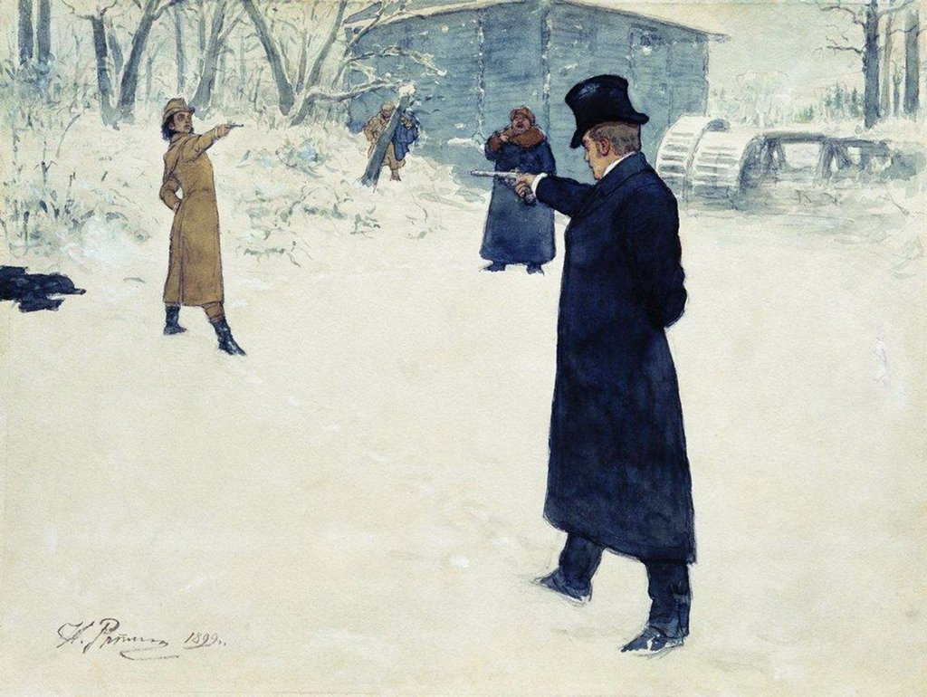 Duel by Ilya Yefimovich Repin, Watercolor, gouache, ink and pen on paper, 1899, 1844-1930, Russia, St Petersburg, Institut of Russian Literature IRLI (Pushkin-House), 29, 3x39, 3 : Stock Photo