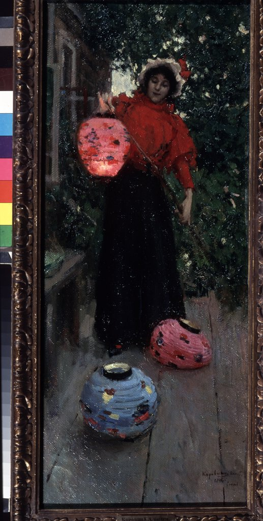 Stock Photo: 4266-14940 Woman holding lantern by Konstantin Alexeyevich Korovin, Oil on canvas, 1896, 1861-1939, Russia, Moscow, State Tretyakov Gallery, 79, 5x33