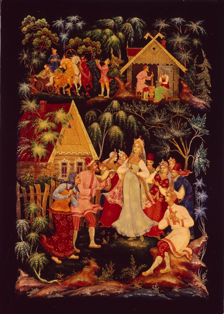 Stock Photo: 4266-14966 Snow Maiden by Alexander Michailovich Kurkin, Tempera on varnished board, 1970s, *1946, Russia, Palekh, Museum of Palekh Russian Lacquer Art,