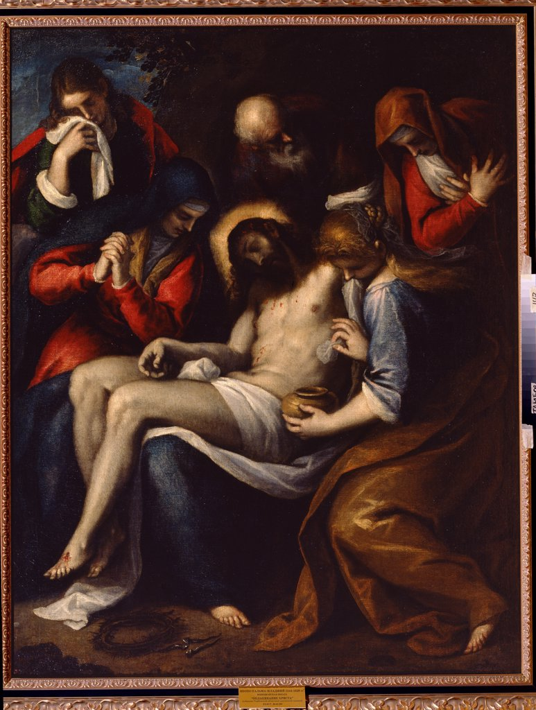 Lamentation over Christ by Jacopo Palma il Giovane the Younger, Oil on canvas, 1544-1628, Russia, Tambov, Regional Art Gallery, 152, 5x120 : Stock Photo