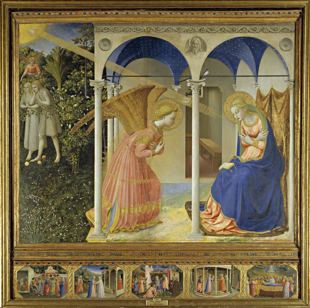 Stock Photo: 4266-15036 Angelico, Fra Giovanni, da Fiesole (ca. 1400-1455) Museo del Prado, Madrid Painting 154x194 Bible  The Annunciation