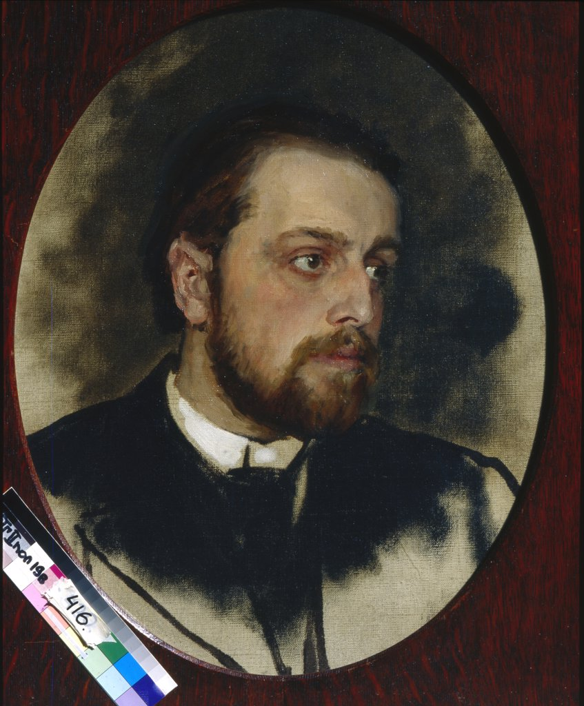 Stock Photo: 4266-15060 Repin, Ilya Yefimovich (1844-1930) State Tretyakov Gallery, Moscow Painting 61x52 Portrait  Portrait of Vladimir Grigorievich Chertkov, writer and secretary of Leo Tolstoy