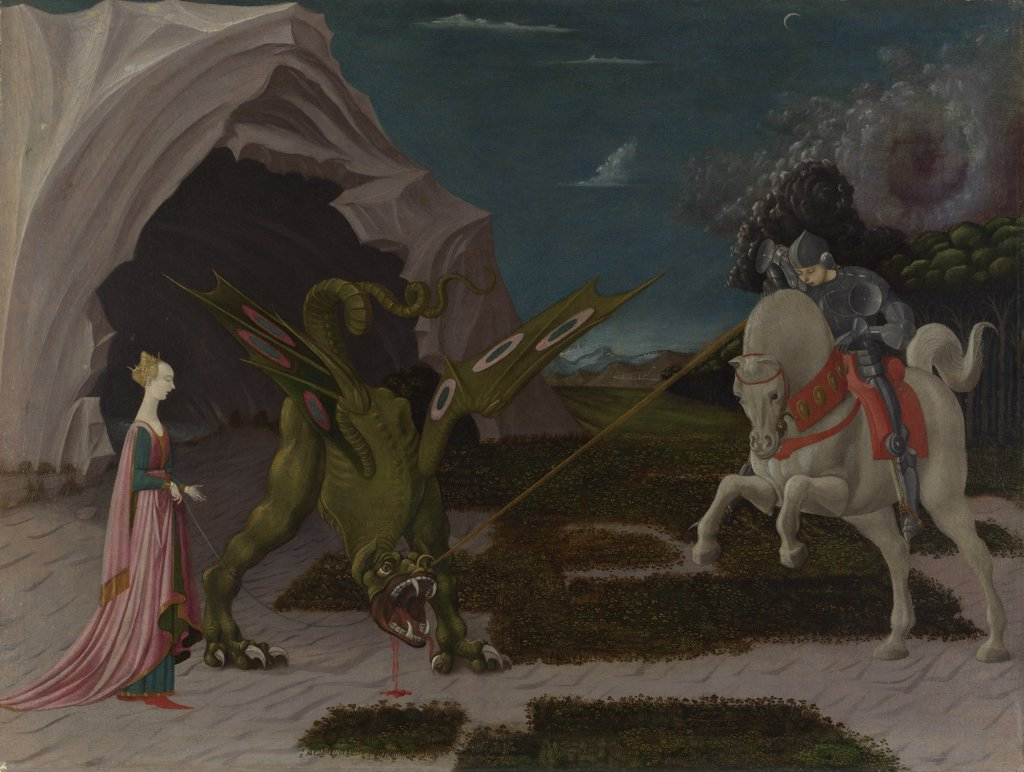 Uccello, Paolo (1397-1475) National Gallery, London Painting 55,6x74,2 Bible  Saint George and the Dragon : Stock Photo