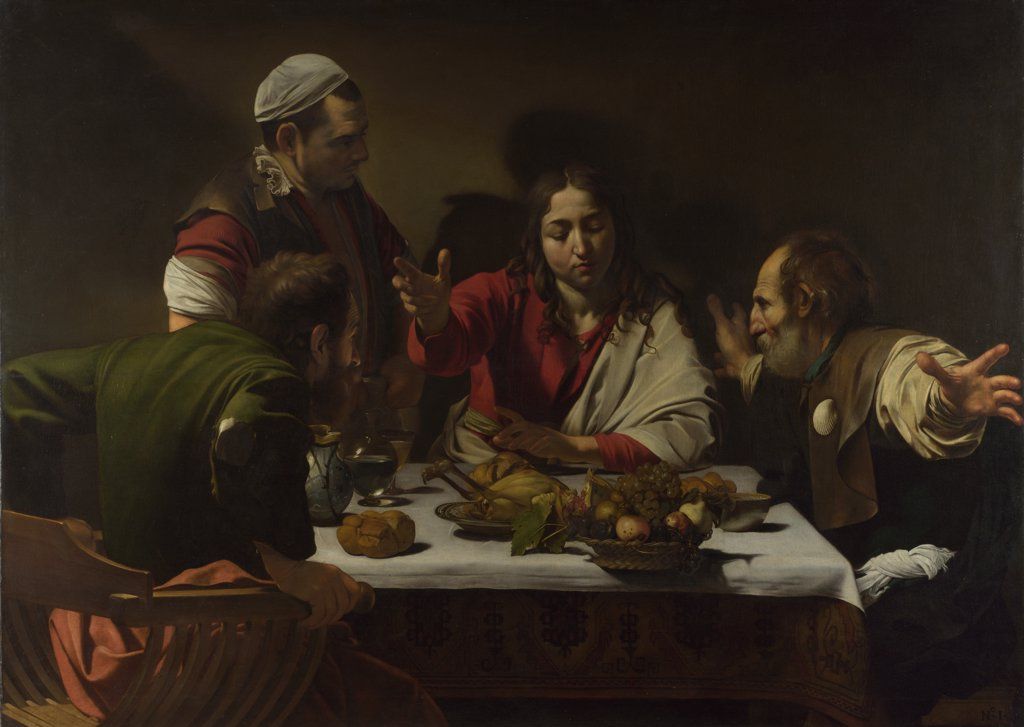 Stock Photo: 4266-15191 Caravaggio, Michelangelo (1571-1610) National Gallery, London Painting 141x196,2 Bible  The Supper at Emmaus