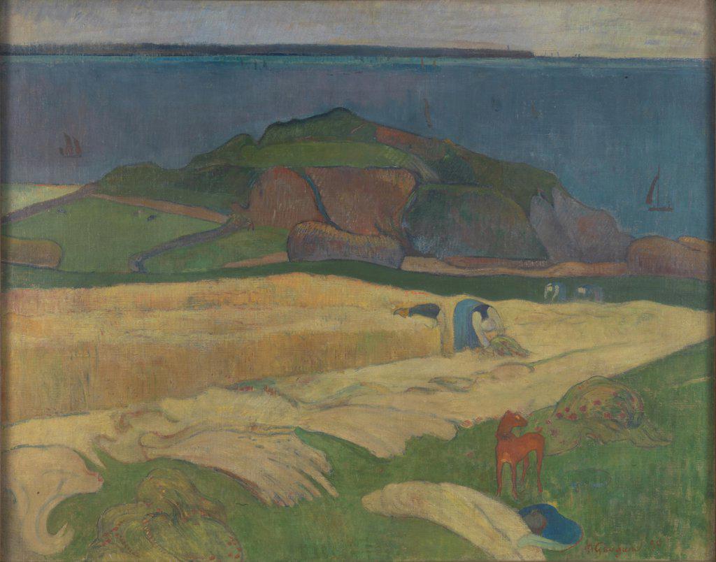 Gauguin, Paul Eug_ne Henri (1848-1903) National Gallery, London Painting 73x92,1 Landscape,Genre  Harvest (Le Pouldu) : Stock Photo