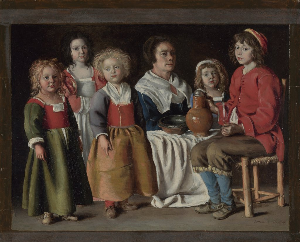 Le Nain, Louis (1593-1648) National Gallery, London Painting 21,8x29,2 Genre  A Woman and Five Children : Stock Photo
