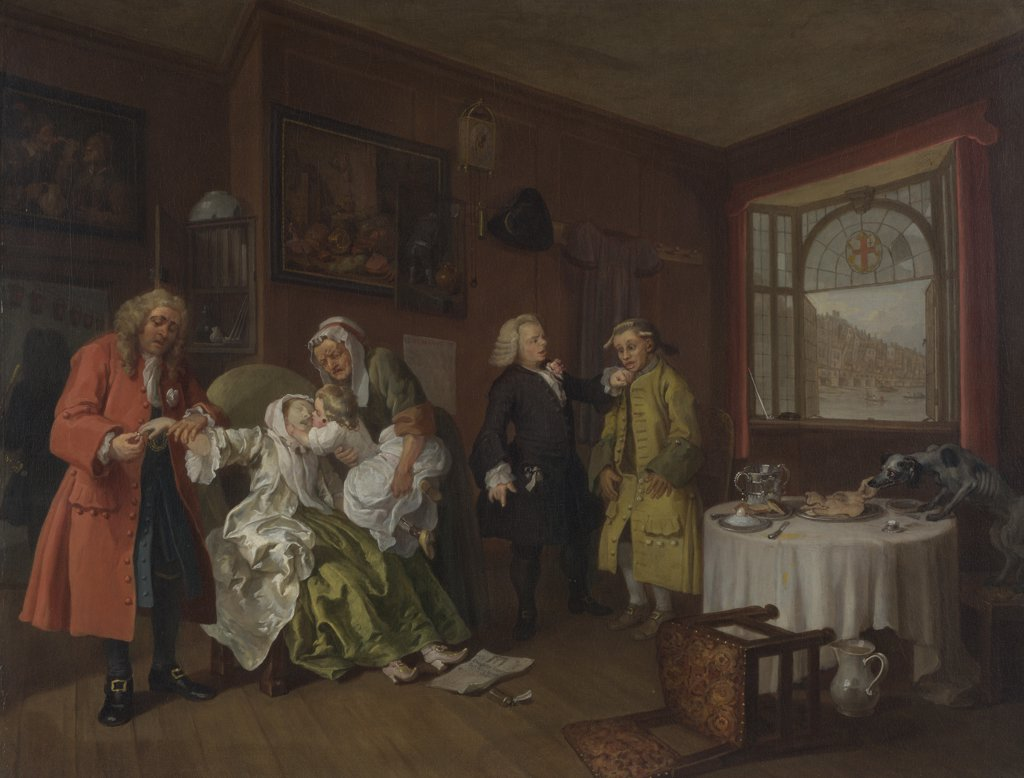 Stock Photo: 4266-15214 Hogarth, William (1697-1764) National Gallery, London Painting 69,9x90,8 Genre  Marriage š-la-mode. 6. The Lady's Death