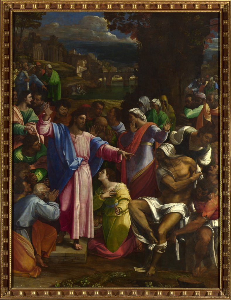 Stock Photo: 4266-15279 Piombo, Sebastiano, del (1485-1547) National Gallery, London Painting 381x289,6 Bible  The Raising of Lazarus