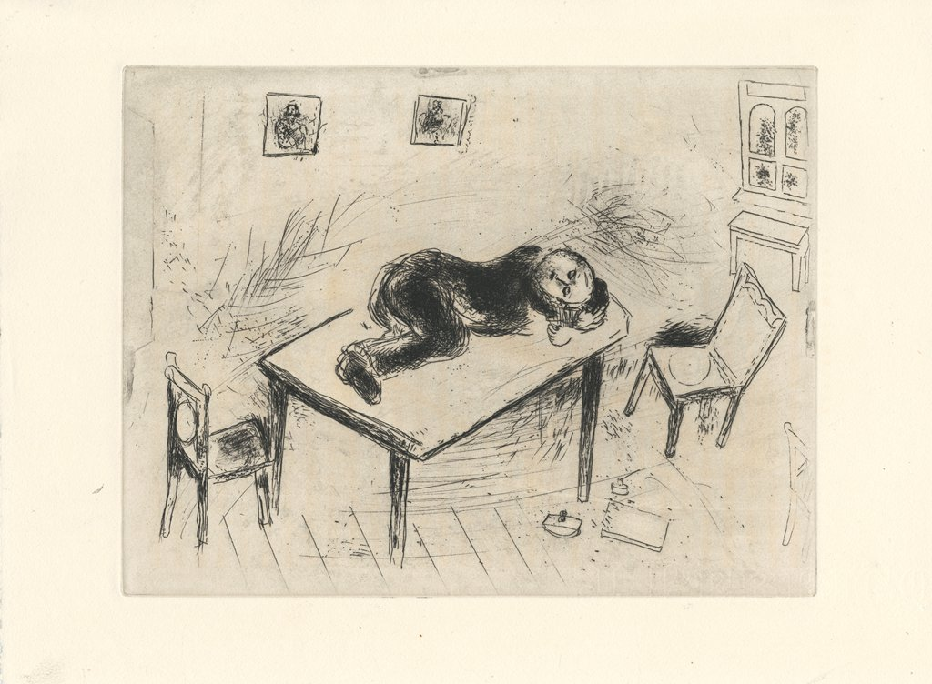 Stock Photo: 4266-15306 Chagall, Marc (1887-1985) Private Collection Graphic arts 28,4x38 Mythology, Allegory and Literature  Illustration for the poem The Dead Souls by N. Gogol
