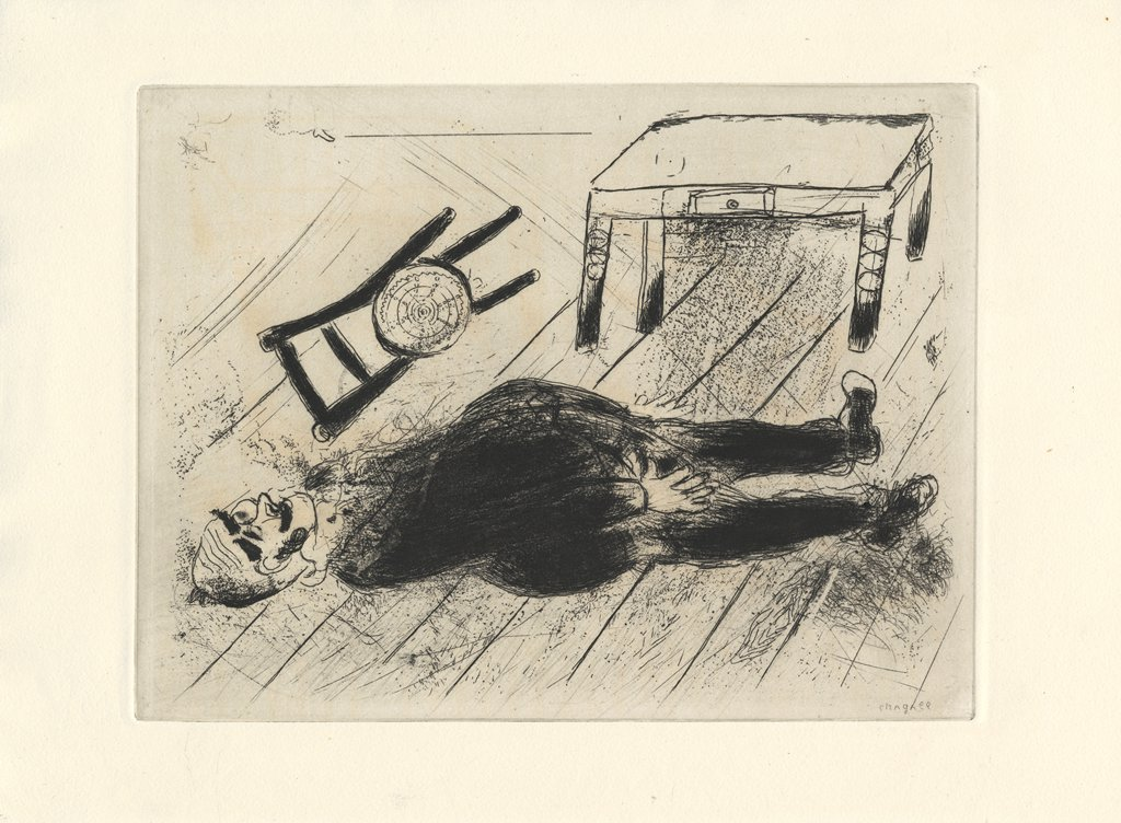 Stock Photo: 4266-15310 Chagall, Marc (1887-1985) Private Collection Graphic arts 28,4x38 Mythology, Allegory and Literature  Illustration for the poem The Dead Souls by N. Gogol