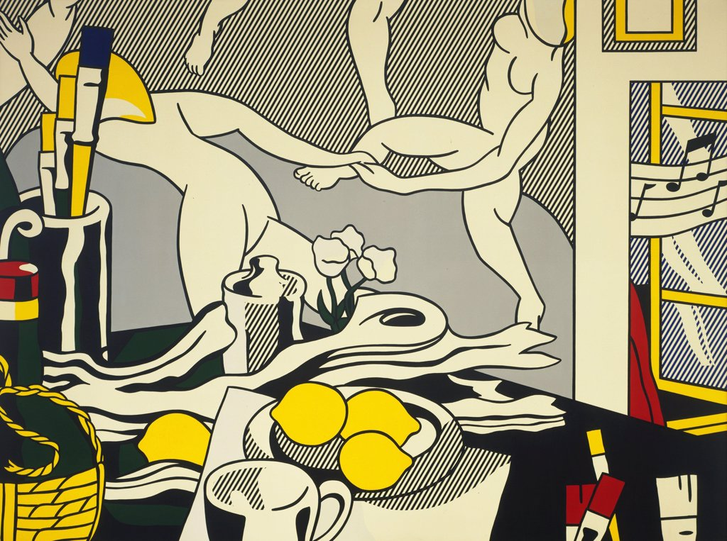 "Stock Photo: 4266-15488 Lichtenstein, Roy (1923_1997) © Museum of Modern Art, New York Painting 244x325,5 Architecture, Interior,Still Life  Artist's Studio """"The Dance"""""