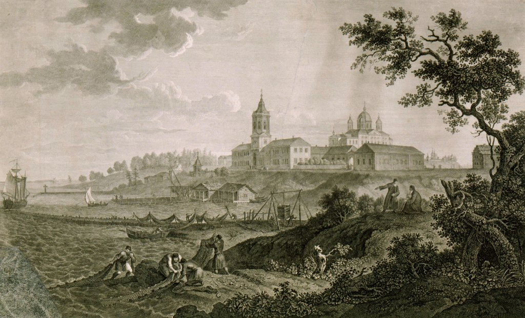 Stock Photo: 4266-1551 Water's edge by Chessky (Cheskoy) Ivan Vasilievich, copper engraving, 1812, 1782-1848, Russia, Sergyev Possad, State Open-air Museum of the Trinity Lavra of St. Sergius, 42x63, 4