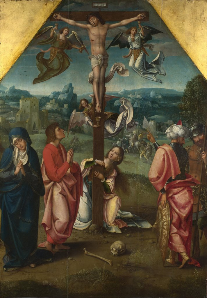 Stock Photo: 4266-15543 Master of 1518, (Workshop)   National Gallery, London Painting 94,6x67,3 Bible  The Crucifixion