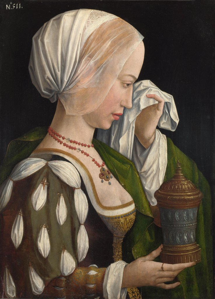 Master of the Magdalen Legend, (Workshop)   National Gallery, London Painting 52,7x38,1 Bible  The Magdalen Weeping : Stock Photo