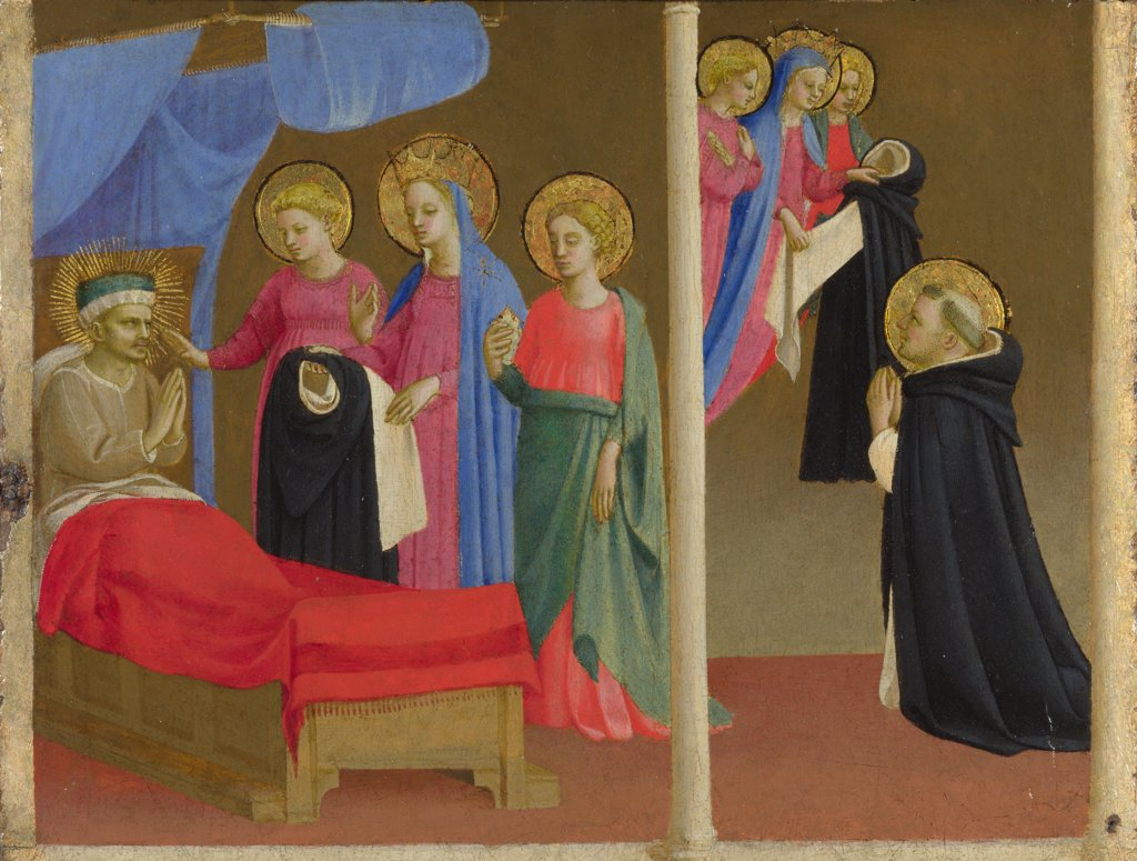 Angelico, Fra Giovanni, (Workshop)   National Gallery, London Painting 24,4x32,3 Bible  The Vision of the Dominican Habit : Stock Photo