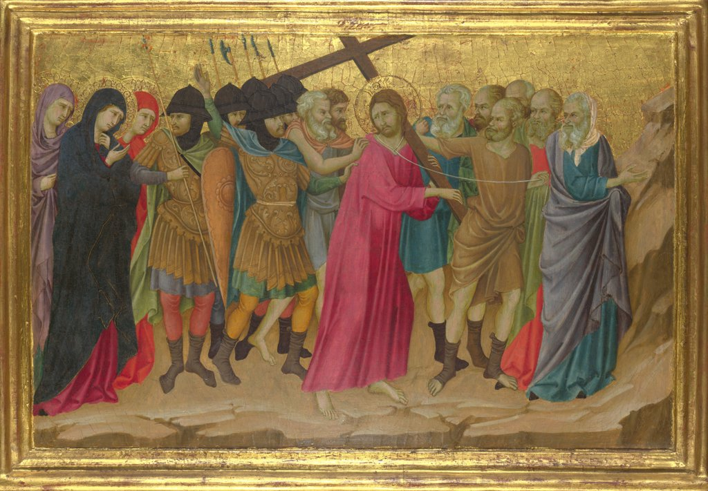 Stock Photo: 4266-15564 Ugolino di Nerio (ca 1280-1349) National Gallery, London Painting 40,5x58,5 Bible  The Way to Calvary (From the Basilica of Santa Croce, Florence)