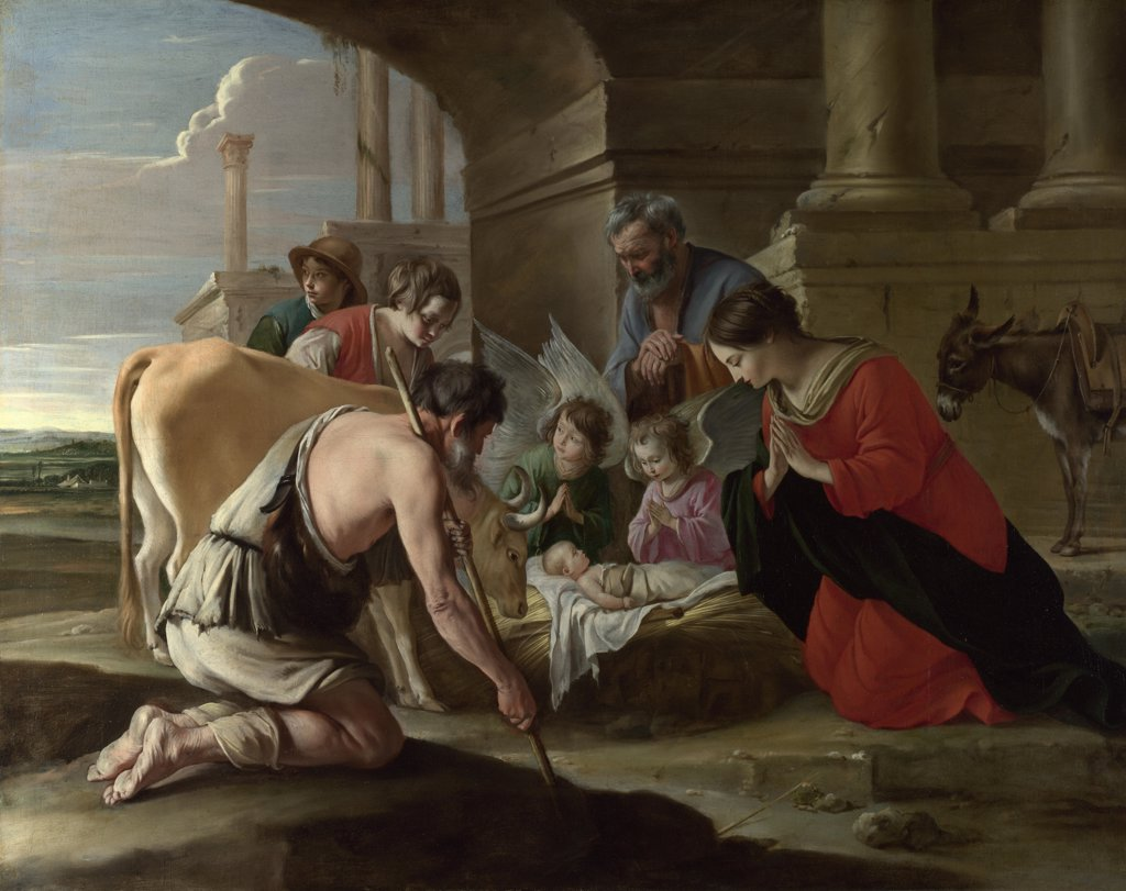 Le Nain, Louis (1593-1648) National Gallery, London Painting 109x138,7 Bible  The Adoration of the Shepherds : Stock Photo