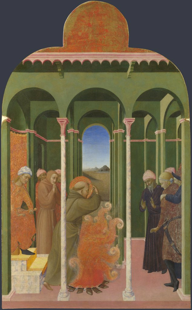 Sassetta (1392-1450) National Gallery, London Painting 87,8x52,5 Bible  Saint Francis before the Sultan (From Borgo del Santo Sepolcro Altarpiece) : Stock Photo