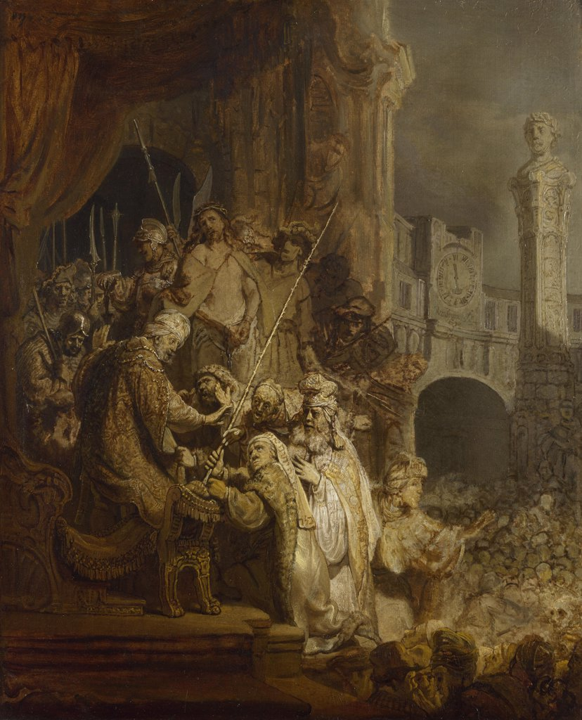Rembrandt van Rhijn (1606-1669) National Gallery, London Painting 54,5x44,5 Bible  Ecce Homo : Stock Photo