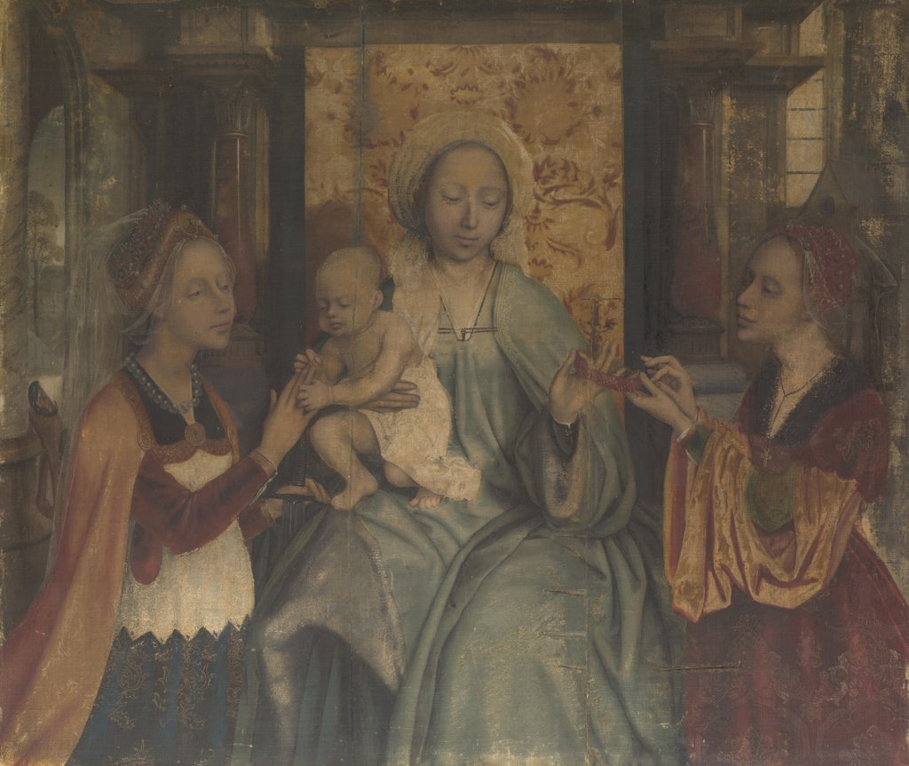 Massys, Quentin (1466_1530) National Gallery, London Painting 92,7x110 Bible  The Virgin and Child with Saints Barbara and Catherine : Stock Photo
