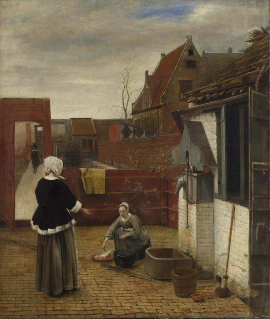 Hooch, Pieter, de (1629-1684) National Gallery, London Painting 73,7x62,6 Genre  A Woman and her Maid in a Courtyard : Stock Photo