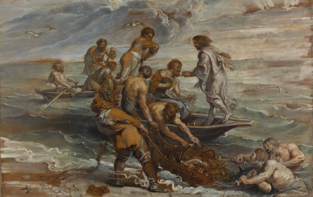 Stock Photo: 4266-15771 Rubens, Pieter Paul (1577-1640) National Gallery, London Painting 55x85 Bible  The Miraculous Draught of Fishes