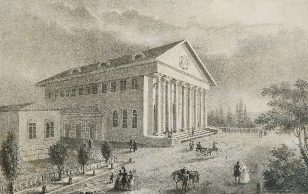 Stock Photo: 4266-1580 Theatre by Russian Master, lithograph, circa 1840, Russia, Moscow, State Central A. Bakhrushin Theatre Museum