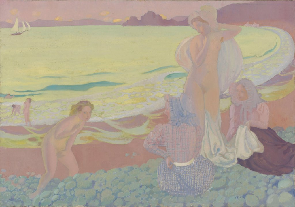 Stock Photo: 4266-16011 Denis, Maurice (1870-1943) © Museum of Modern Art, New York Painting 70x99,8 Landscape,Genre  On the Beach of Trestrignel