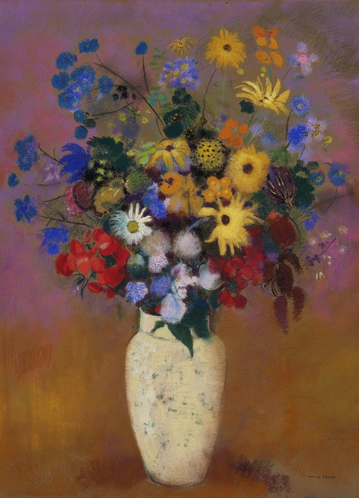 Stock Photo: 4266-16032 Redon, Odilon (1840-1916) © Museum of Modern Art, New York Painting 73x53,7 Still Life  Vase of Flowers