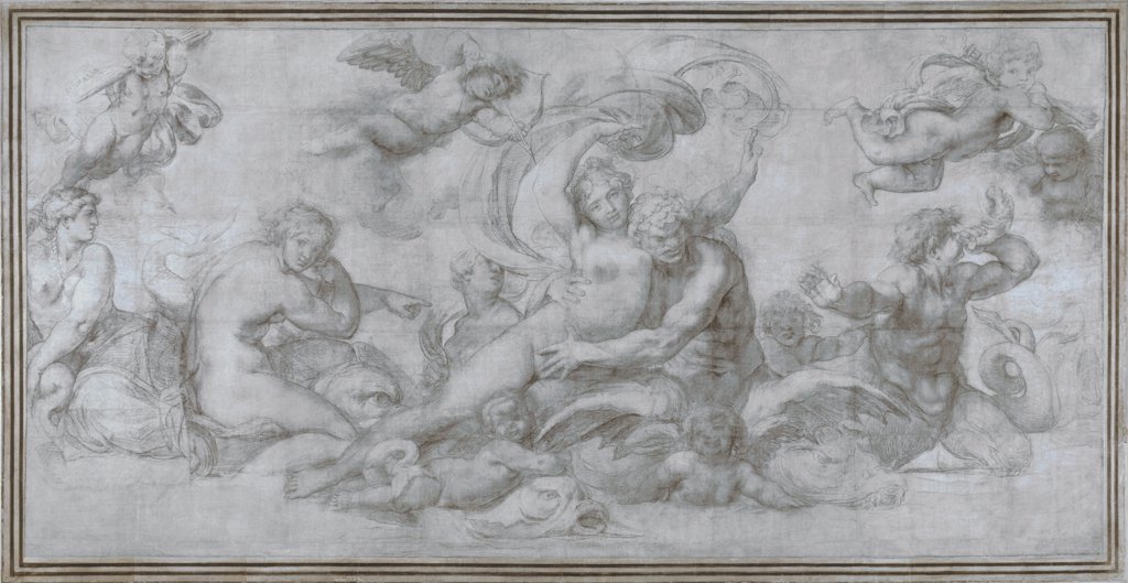 Stock Photo: 4266-16084 Carracci, Agostino (1557-1602) National Gallery, London Graphic arts 203x410 Mythology, Allegory and Literature  A Woman borne off by a Sea God (Cartoon for a fresco in the Gallery of the Palazzo Farnese, Rome)