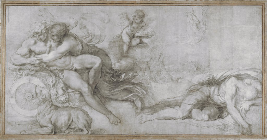 Carracci, Agostino (1557-1602) National Gallery, London Graphic arts 202,5x399 Mythology, Allegory and Literature  Cephalus carried off by Aurora in her Chariot (Cartoon for a fresco in the Gallery of the Palazzo Farnese, Rome) : Stock Photo