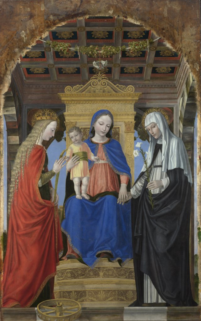 Bergognone, Ambrogio (1453-1523) National Gallery, London Painting 187,5x130 Bible  The Virgin and Child with Saint Catherine of Alexandria and Saint Catherine of Siena : Stock Photo