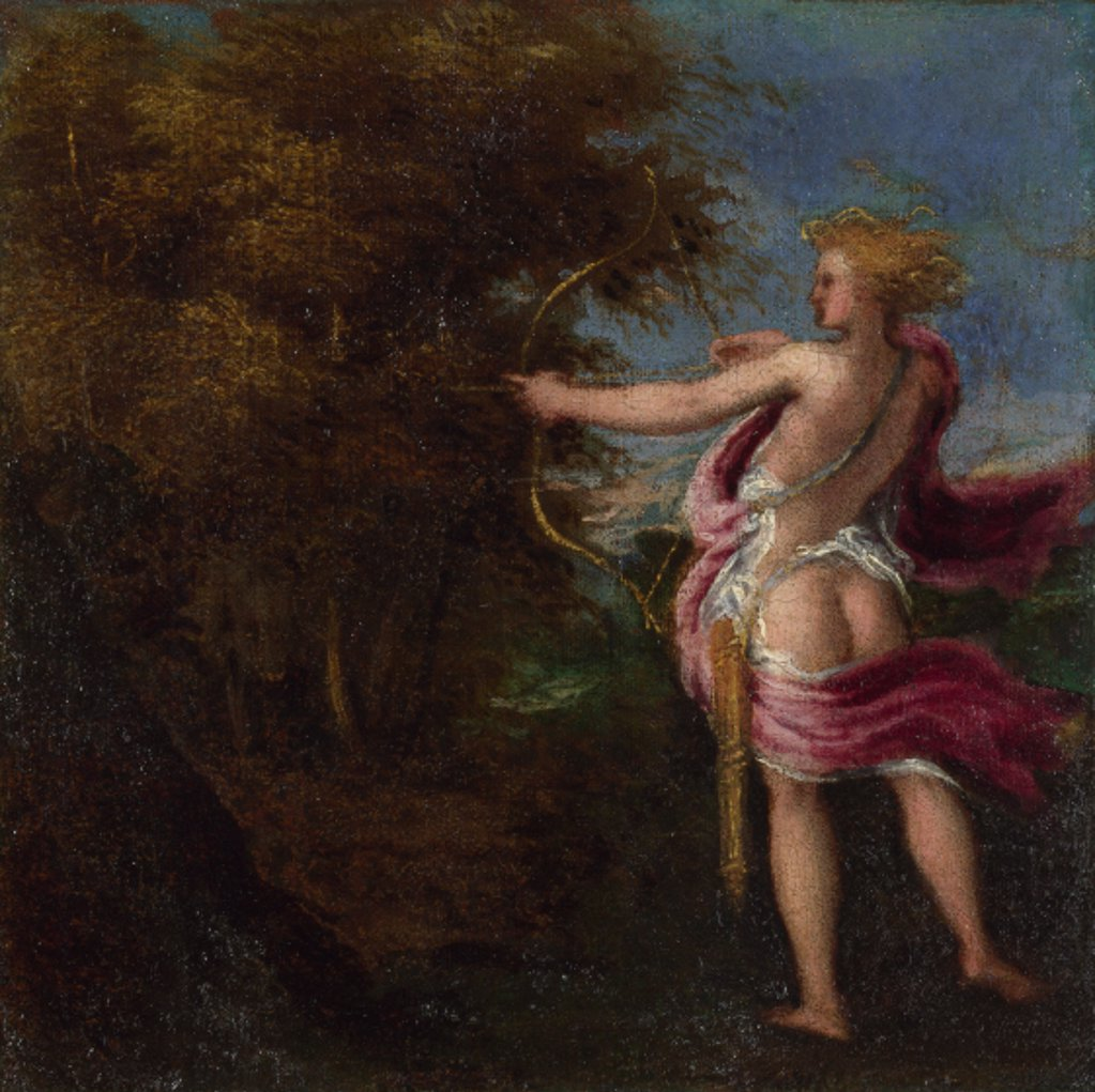 Stock Photo: 4266-16104 Schiavone, Andrea (ca. 1520-1582) National Gallery, London Painting 18,8x18,4 Mythology, Allegory and Literature  Arcas Hunting