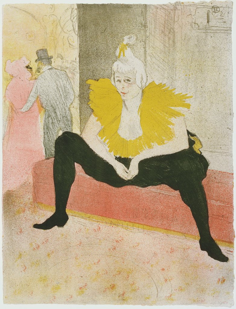 Toulouse-Lautrec, Henri, de (1864-1901) © Museum of Modern Art, New York Graphic arts 52x40,3 Portrait,Genre  Seated Clowness (Mademoiselle Cha-u-ka-o) : Stock Photo