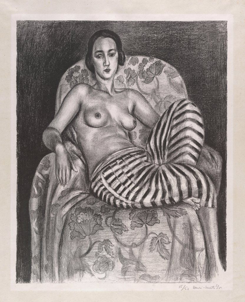 Matisse, Henri (1869-1954) © Museum of Modern Art, New York Graphic arts 54,6x44,1 Portrait,Genre,Nude painting  Grande Odalisque š culotte bayadre (Large Odalisque in Striped Pantaloons) : Stock Photo