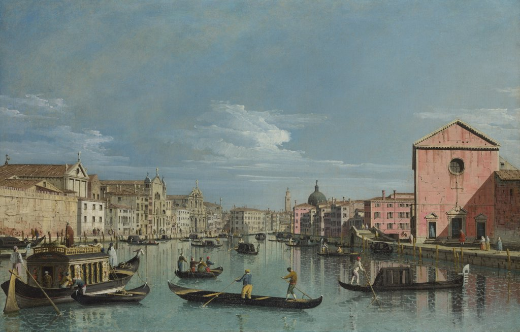 Stock Photo: 4266-16244 Bellotto, Bernardo (1720-1780) National Gallery, London Painting 59,7x92,1 Landscape  Venice. Upper Reaches of the Grand Canal facing Santa Croce