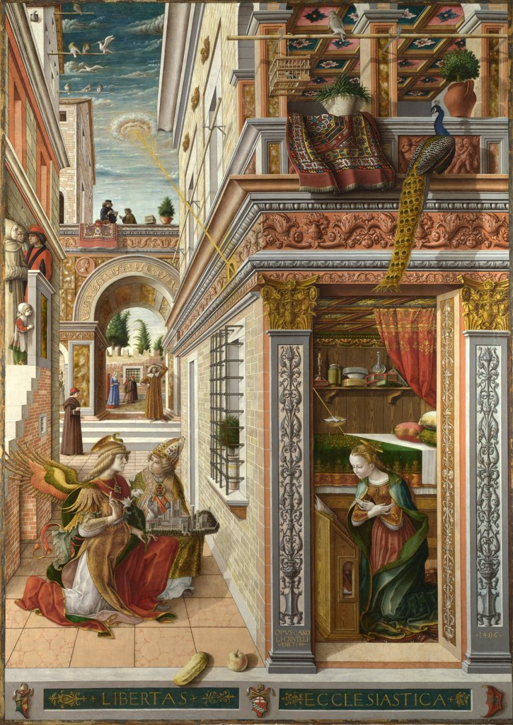 Stock Photo: 4266-16262 Crivelli, Carlo (c. 1435-c. 1495) National Gallery, London Painting 207x146,7 Bible  The Annunciation, with Saint Emidius