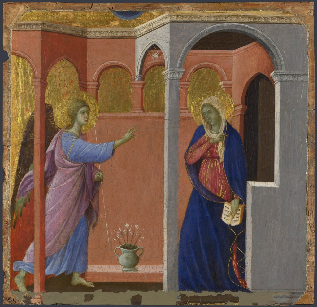 Duccio di Buoninsegna (ca 1255-1319) National Gallery, London Painting 44,5x45,8 Bible  The Annunciation : Stock Photo
