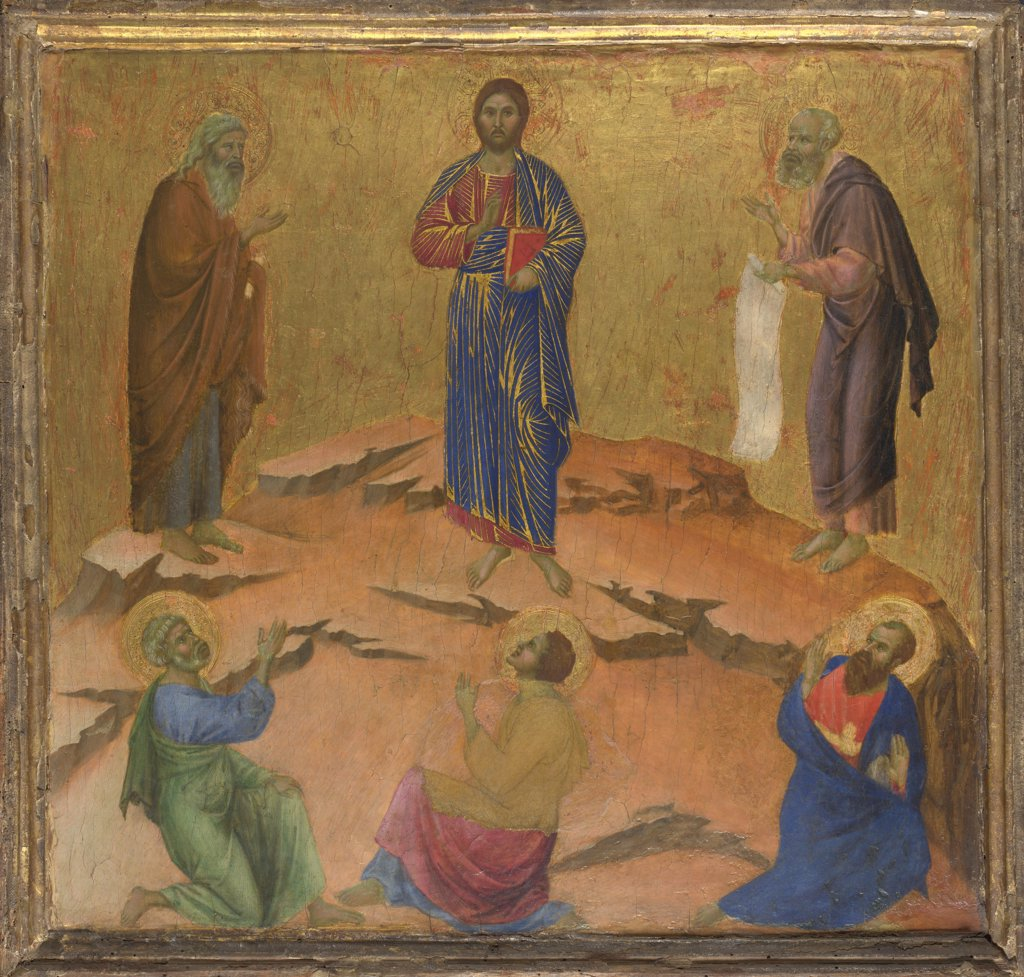 Duccio di Buoninsegna (ca 1255-1319) National Gallery, London Painting 48,5x51,4 Bible  The Transfiguration of Jesus : Stock Photo