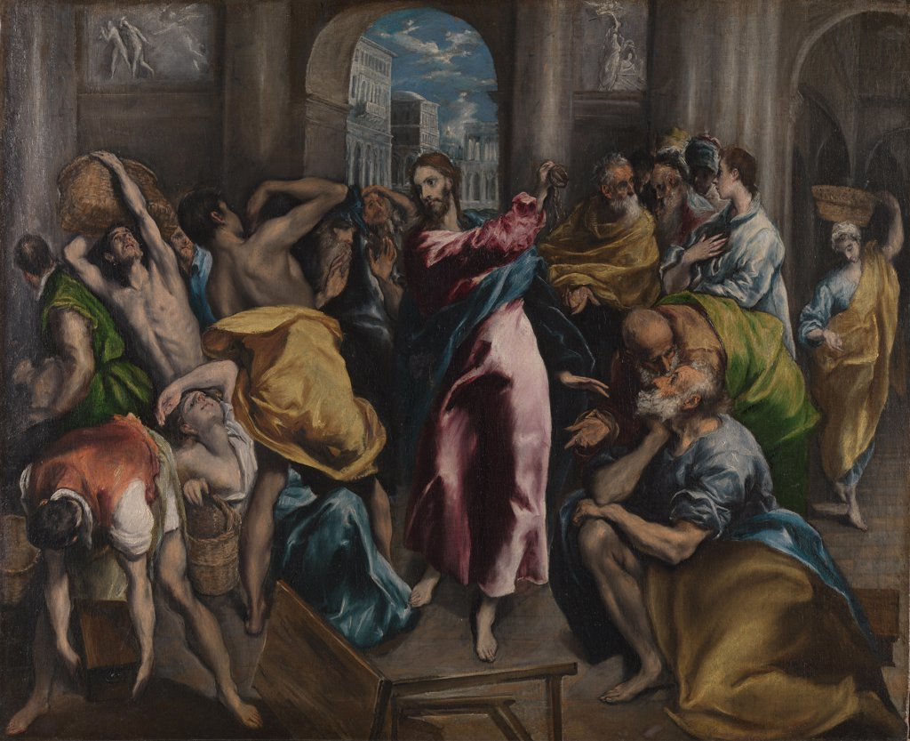 Stock Photo: 4266-16343 El Greco, Dominico (1541-1614) National Gallery, London Painting 106x129,7 Bible  Christ driving the Traders from the Temple