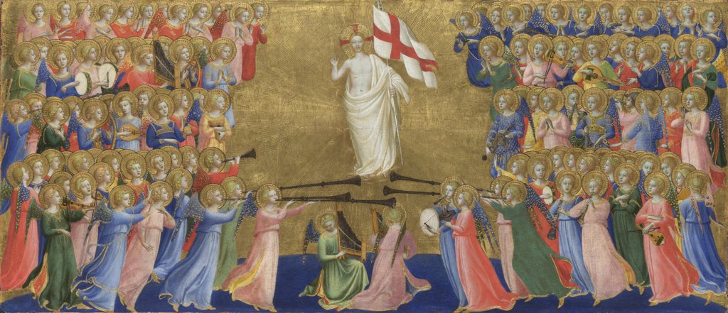 Angelico, Fra Giovanni, da Fiesole (ca. 1400-1455) National Gallery, London Painting 32x64 Bible  Christ Glorified in the Court of Heaven (Panel from Fiesole San Domenico Altarpiece) : Stock Photo