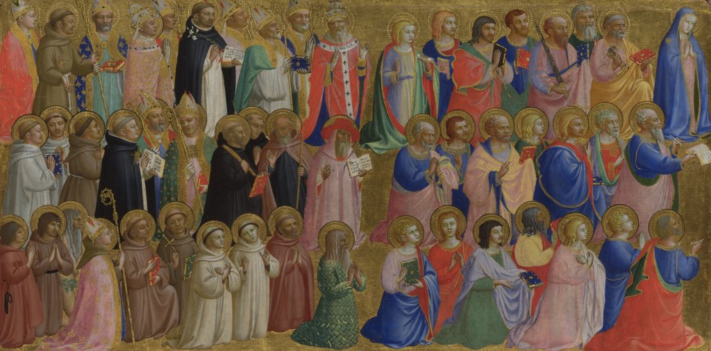 Stock Photo: 4266-16368 Angelico, Fra Giovanni, da Fiesole (ca. 1400-1455) National Gallery, London Painting 32x64 Bible  The Virgin Mary with the Apostles and Other Saints (Panel from Fiesole San Domenico Altarpiece)