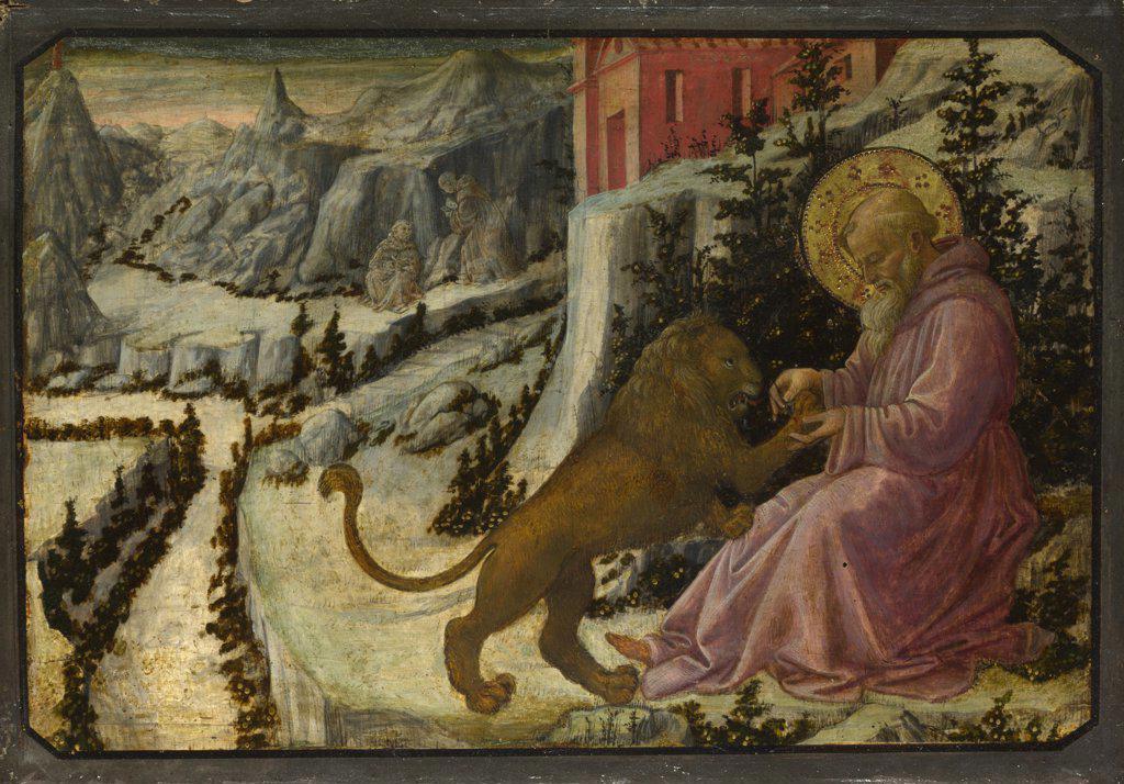 Lippi, Filippo, Fra (1406-1469) National Gallery, London Painting 26,5x40 Bible  Saint Jerome and the Lion (Predella Panel of the Pistoia Santa Trinitš Altarpiece) : Stock Photo