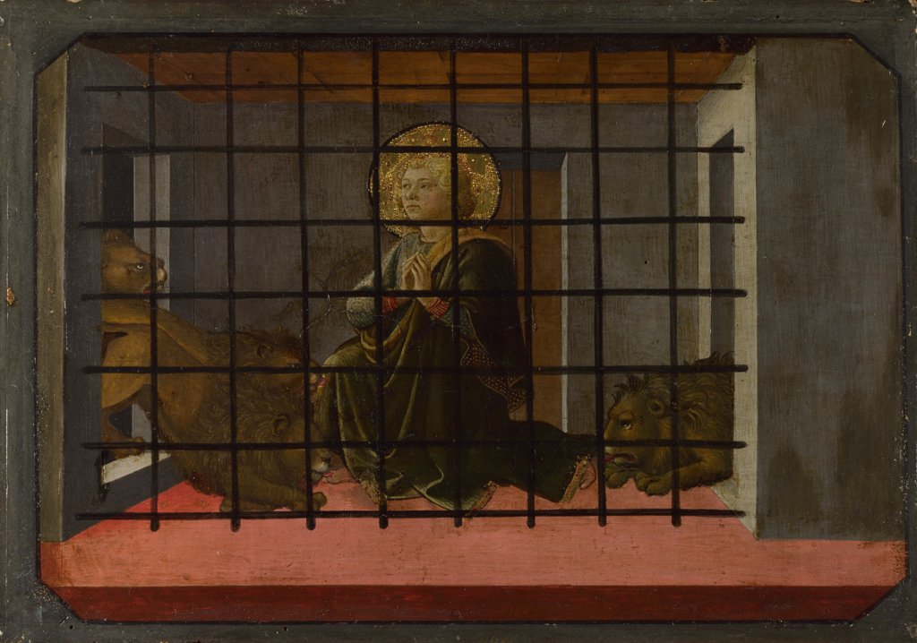 Lippi, Filippo, Fra (1406-1469) National Gallery, London Painting 27x39,5 Bible  Saint Mamas in Prison thrown to the Lions (Predella Panel of the Pistoia Santa Trinitš Altarpiece) : Stock Photo