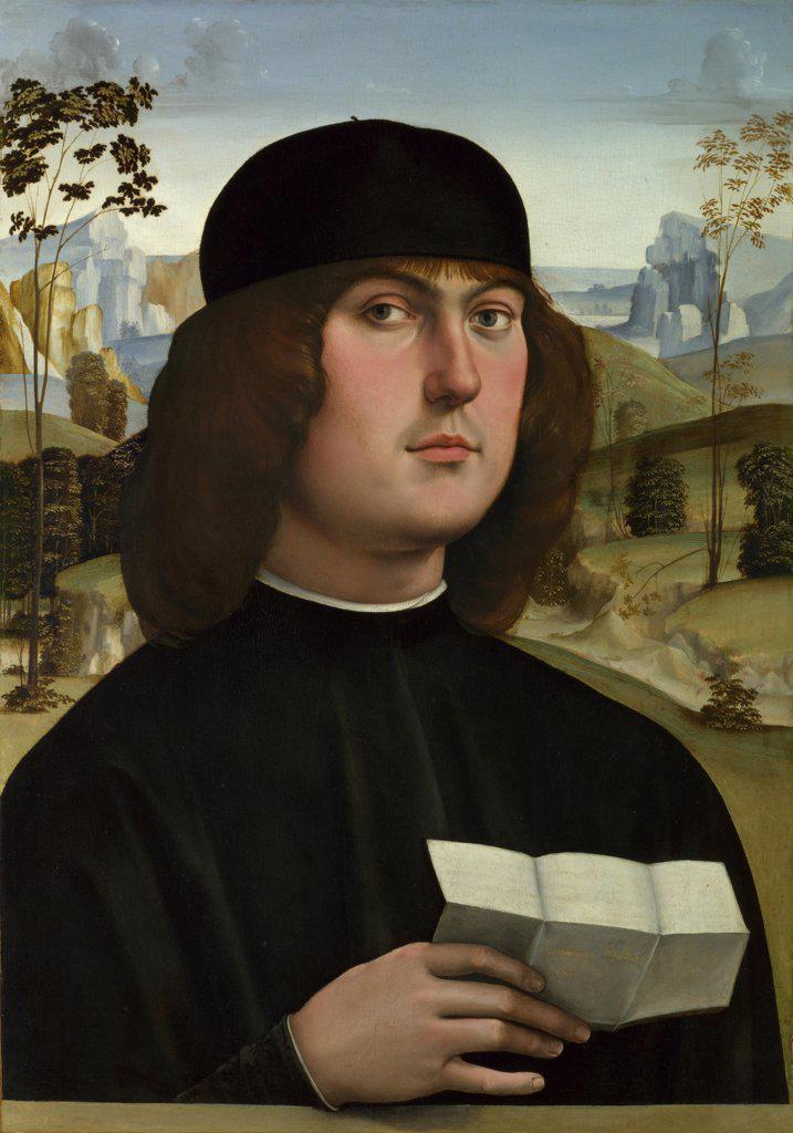 Francia, Francesco (1450-1517) National Gallery, London Painting 56,5x40,6 Portrait  Bartolomeo Bianchini : Stock Photo