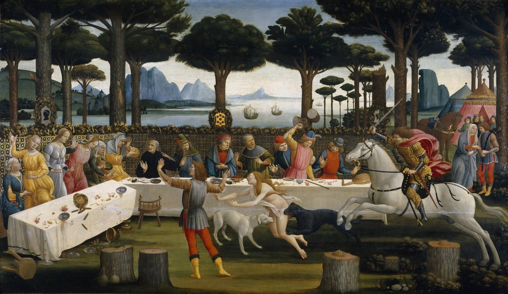 Botticelli, Sandro (1445-1510) Museo del Prado, Madrid Painting 82x142 Mythology, Allegory and Literature  The Story of Nastagio degli Onesti (Third episode) : Stock Photo