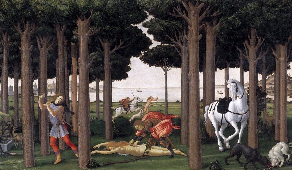 Stock Photo: 4266-16451 Botticelli, Sandro (1445-1510) Museo del Prado, Madrid Painting 82x138 Mythology, Allegory and Literature  The Story of Nastagio degli Onesti (Second episode)